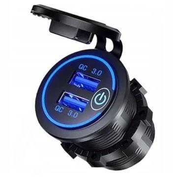 Ładowarka woltomierz do auta gniazdo 2x USB QC 3.0