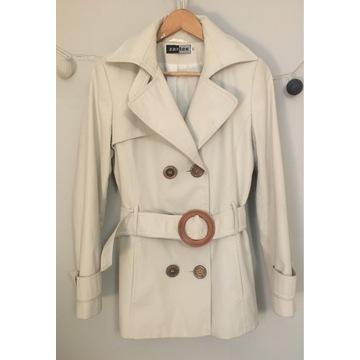 Kremowy płaszcz na podszewce, rozm. 40