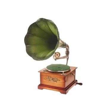 Gramofon stary, antyczny, z tubą, patefon