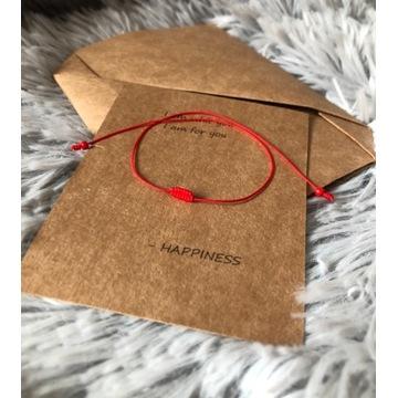 Bransoletka szczęścia czerwony sznurek kabała