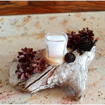Piękna naturalna ozdoba stroik świecznik lampion