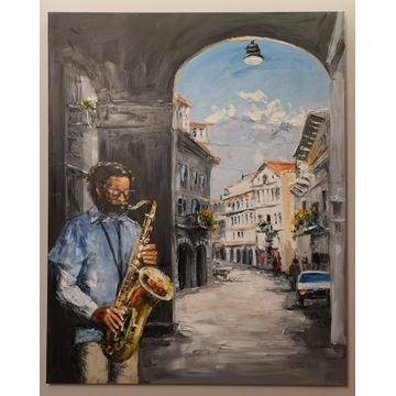 saksofonista obraz olejny Dorota Łaz