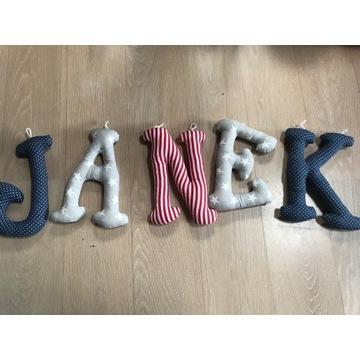 Literki szyte bawełna 3D imię dziecka Janek