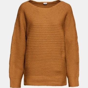 gruby sweter Bodyflirt 38 luźny krój 38/40 miodowy