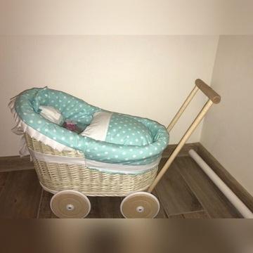 Wózek dla lalek z wikliny