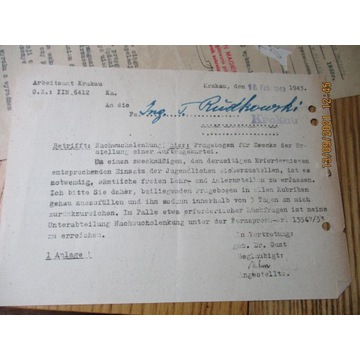 pismo URZĄD PRACY KRAKÓW  w 2 językach