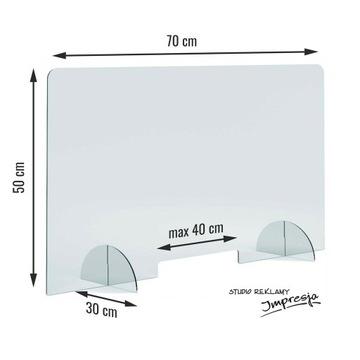 Osłona plexi, szyba na biurko 50 x 70 cm