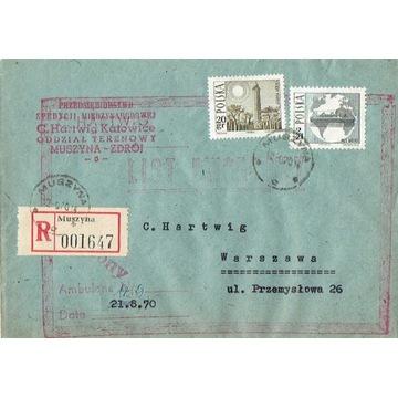 Muszyna - Koperty listów polecon. 1960-80