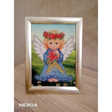 Obraz recznie haftowany - haft koralikowy - Anioł