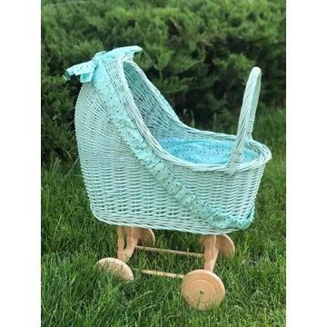 Wiklinowy wózek dla lalek LILU brudna mięta