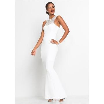 Długa,kremowa sukienka,ślub koraliki, perełki R-44