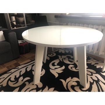Stół biały drewniany rozkładany szklany blat