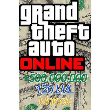 Gotówka do gry GTA Online 500milionów oraz 120lvl