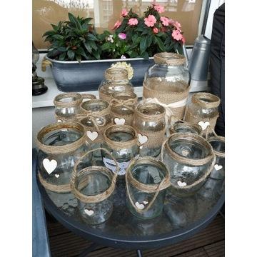Lampiony, świeczniki, szklany słoik rustykalny