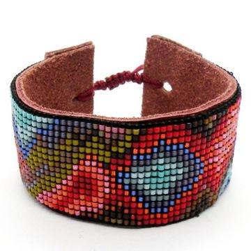 Bransoletka na krośnie boho koraliki handmade etno