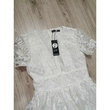 Biała koronkowa sukienka NOWA r36 PIĘKNA! BooHoo