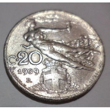 Włochy 20 centesimi 1909 Italia