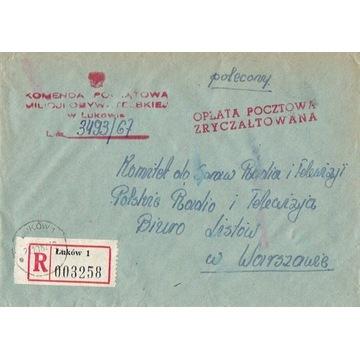Łuków - Koperty listów poleconych 1960-80