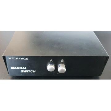 Przełącznik ręczny manual Switch Konig VGA 2 porty