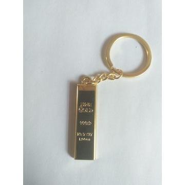 Breloczek do kluczy sztabka złota