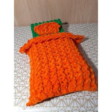 Koc dla Barbie, pomarańczowy, handmade