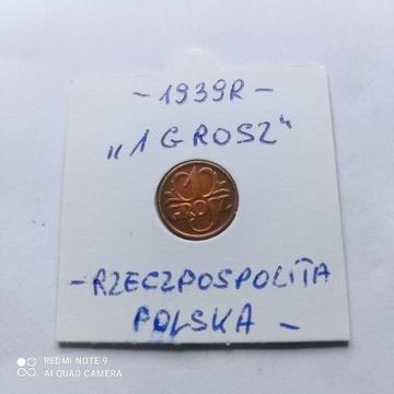 1 Grosz z 1939roku,Rzeczpospolita ładnie zachowana