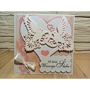 Pamiątka Ślubu z gołębiami ręcznie wykonana