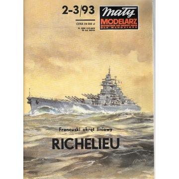 Mały modelarz 2-3 1993 okręt RICHELIEU model 1:300