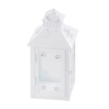 Lampion świąteczny Cristal biały świecznik 25 cm