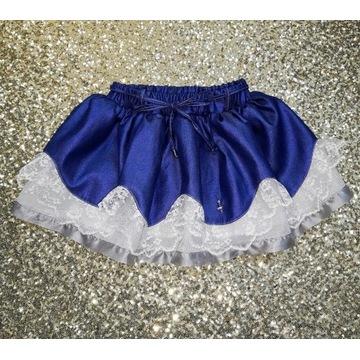 Spódnica koronkowa tiul kobalt satyna handmade