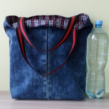 Torba handmade shopper bag jeans denim vegan