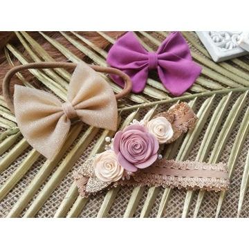Zestaw opasek kokardki wianek chrzest handmade