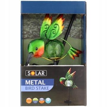 Lampa Solarna  Metalowy Ptak Koliber Ozdoba Ogród