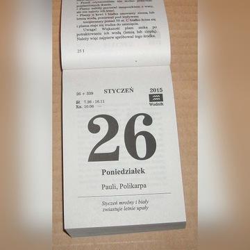 Kalendarz na 2015 rok Zdzierak Kartka z kalendarza
