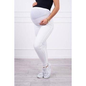 Spodnie ciążowe jeansowe białe rozmiar L