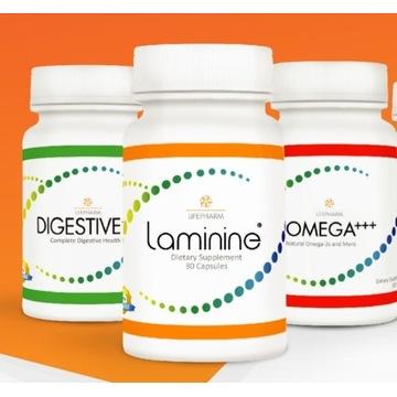 Zestaw 3 produktów Laminine, + Omega-3 + Digestive