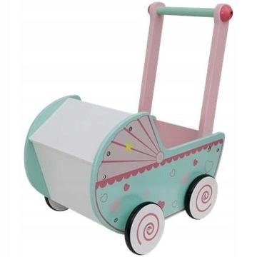 Mini Matters Drewniany wózek dla lalki z kocykiem