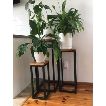 Kwietnik industrialny,stojak na kwiaty,drewno,stal