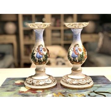 Porcelanowe hiszpańskie świeczniki