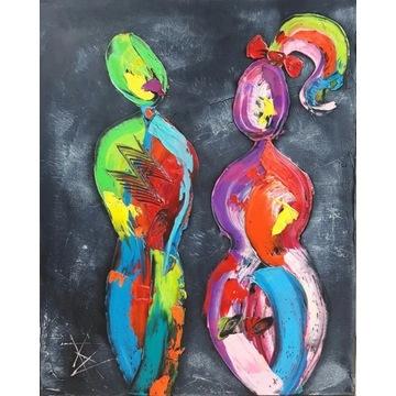 TYLKO MY 40X50 obraz olejny abstrakcja  env
