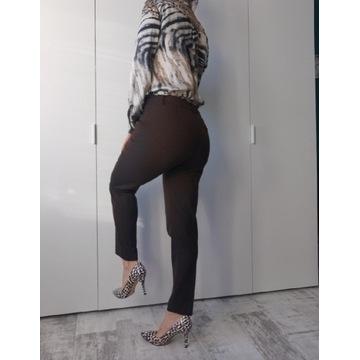 Spodnie Zara 38 brąz klasyczne na kant