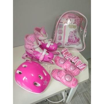 Łyżworolki, rolki dziewczęce + kask + ochraniacze