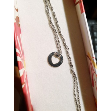 Łańcuszek srebrny zawieszka koło z serduszkiem
