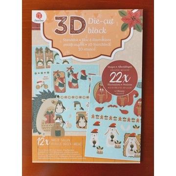 Blok 3D die cut,wypychanki,wycinanki-zima,święta