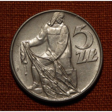 5 zł złotych RYBAK 1971 - PIĘKNA