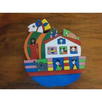 Drewniana kolorowa Arka Noego obrazek