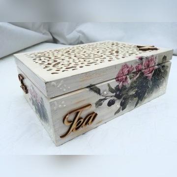 Drewniana herbaciarka pudełko na herbatę wzory