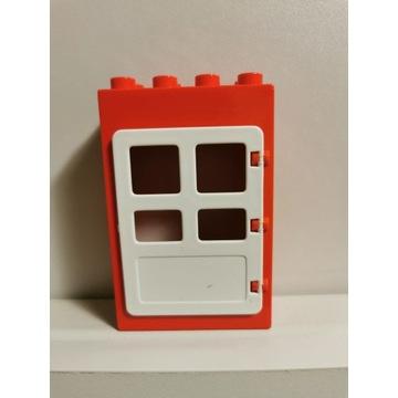 LEGO DUPLO czerwone drzwi białe oryginalne 2x4