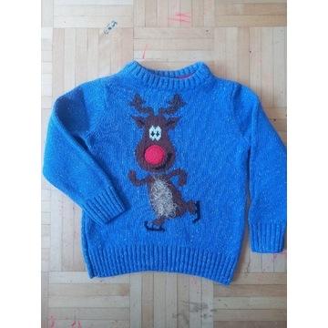 TU Świąteczny sweterek z reniferkiem 92/98