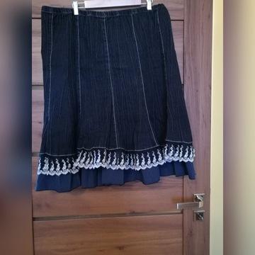 gnieciona jeansowa spódniczka z falbanami 52